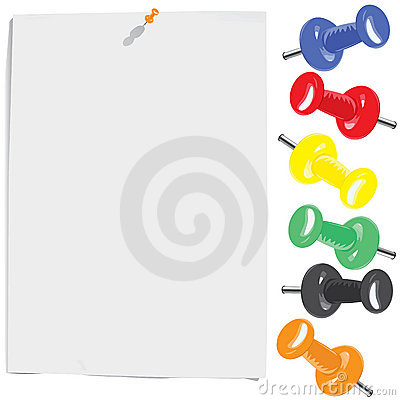White paper sheet and motley pins set