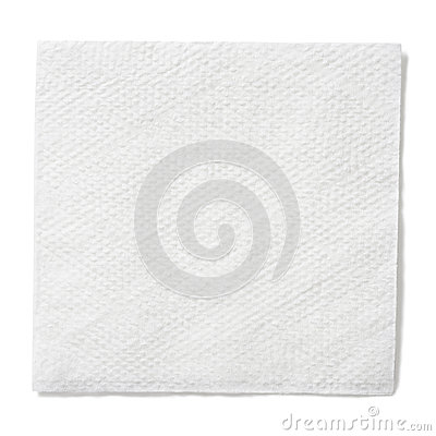 White paper square napkin isolated with clipping path