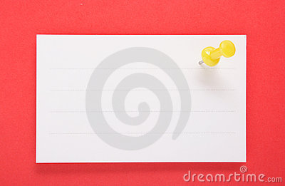 White Paper and Yellow Push Pin on red background(with clipping