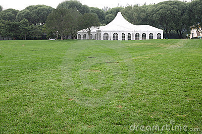 White party tent on lawn