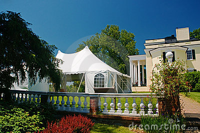 White party tent at mansion