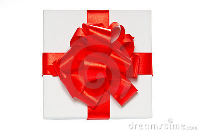 White pasteboard gift box. Top view.