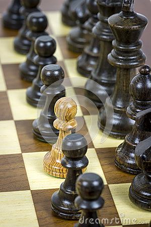 White pawn on black rows