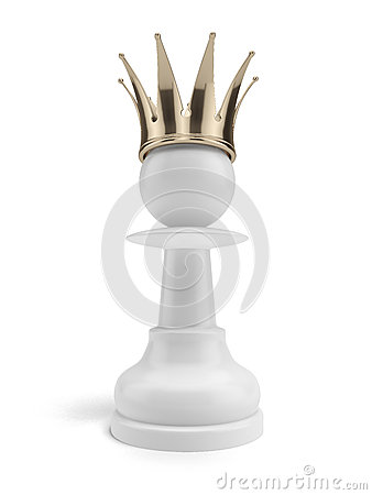 White pawn with a crown