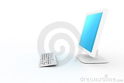 White pc with blue shade