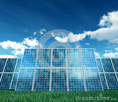 on white photovoltaic Panel
