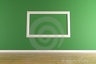 White picture frame on green wall