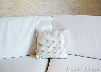 White pillow on a sofa