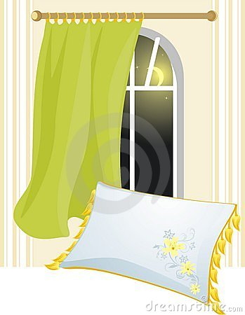 White pillow and window with brise-bise