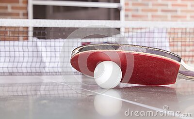 White Pingpong Ball Beneath Red Table Tennis Paddle Free Public Domain Cc0 Image