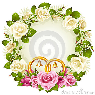 White and pink rose circle wedding frame