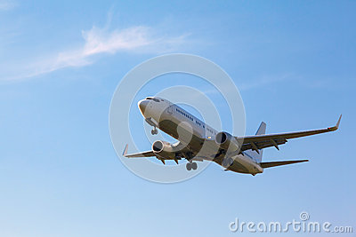 White plane with the gear