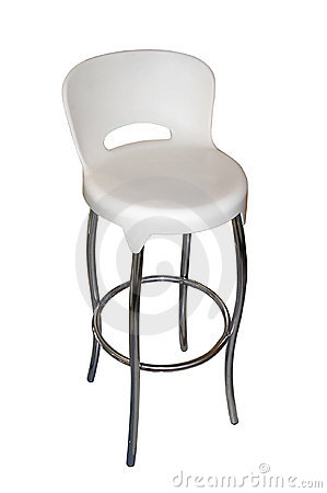 White Plastic - Chrome Bar Chair