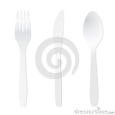 White plastic cutlery