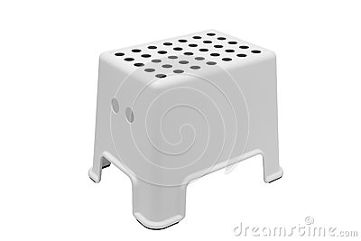 White plastic low stool