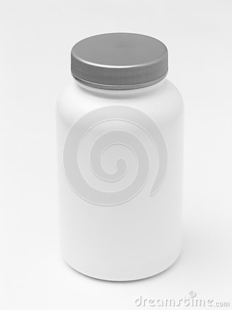White plastic pill container