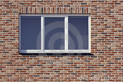 White plastic window and red  brick wall