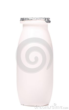 White plastic yogurt bottle.