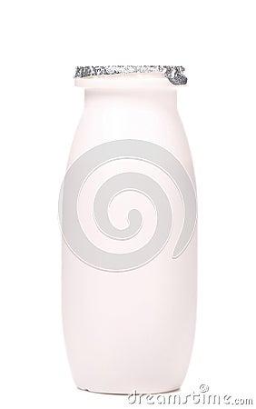 White plastic yogurt bottle.