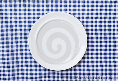 White Plate on Blue and White checkered Fabric