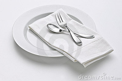 White Plate with Fork & Spoon