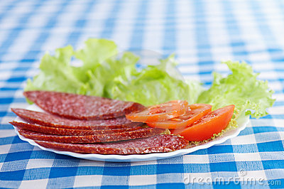 White plate (sliced salami