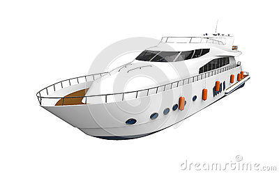 White Pleasure Yacht Isolated on White Background