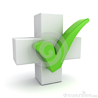 Free White Plus Sign With Green Check Mark Concept On White Royalty Free Stock Image - 32812056