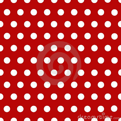 White polka dots with red