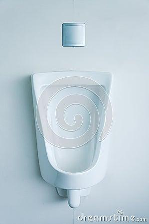 White porcelain urinals