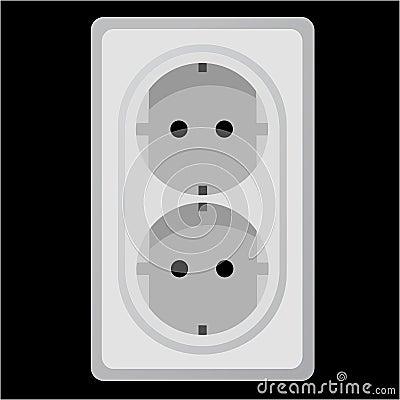 White power socket on black background