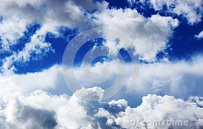 White fluffy clouds and blue sky Stock Photo