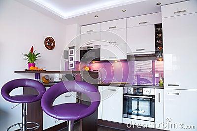 White and purple kitchen interior