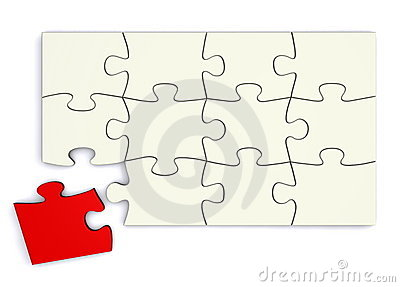 White Puzzle - Red Piece Separate
