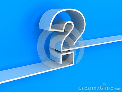 White question mark shelf on blue background
