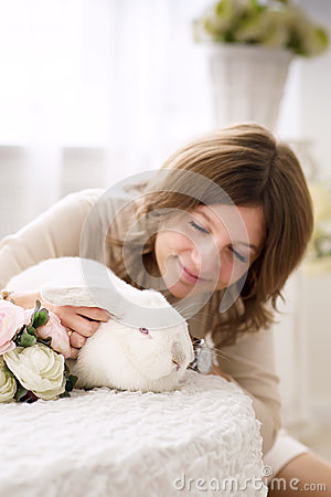 Free White Rabbit And Girl Stock Photography - 37259892