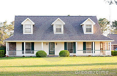 White Ranch Style American Home Stock Graphy Image
