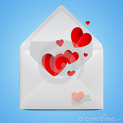 Free White Realistic Open Envelope With Red Paper Hearts. Stock Photo - 49032450