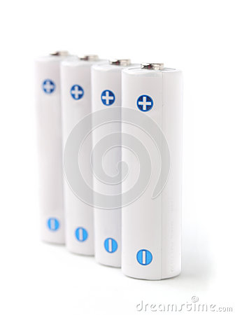 Free White Rechargeable AA Batteries On White Background Royalty Free Stock Photo - 28300495