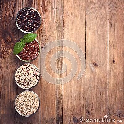 Free White, Red, Black And Mixed Raw Quinoa Grain Stock Image - 54498841