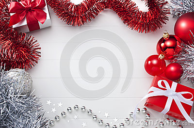 White & Red Christmas Background Stock Photo