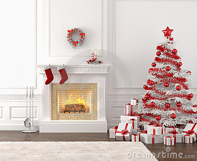 White and red christmas fireplace
