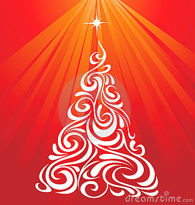 White Red Christmas Tree