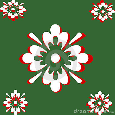 White and Red On Green Abstract