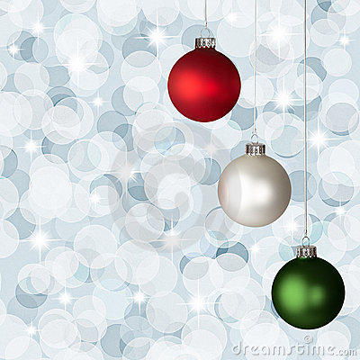 White, Red  Green Christmas Ornaments Silver Bokeh
