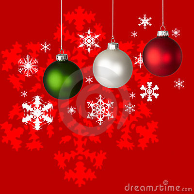 White, Red & Green Christmas Ornaments & Snowflake