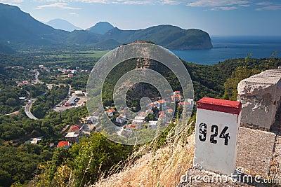 White and red kilometer stone post