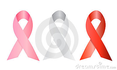 White, red and pink social ribbons