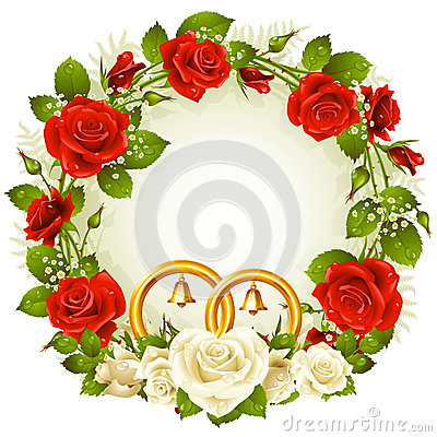 White and red rose circle frame
