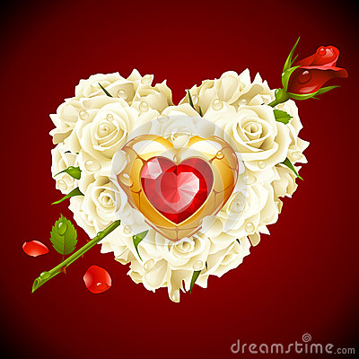 White and red Rose in the shape of heart
